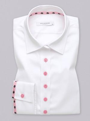 Klasyczna biała bluzka z różowymi kontrastami