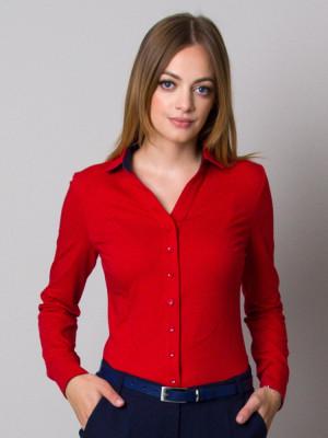 Czerwona bluzka dzianinowa z granatowymi kontrastami