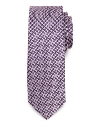 Wąski krawat w granatowo-różowy wzór