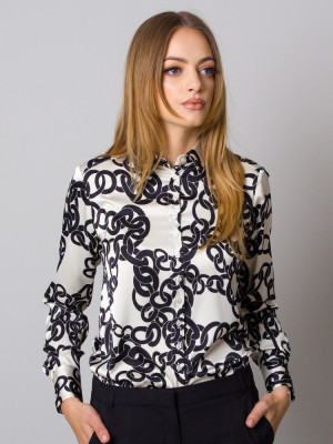 Beżowa bluzka w kontrastowy wzór