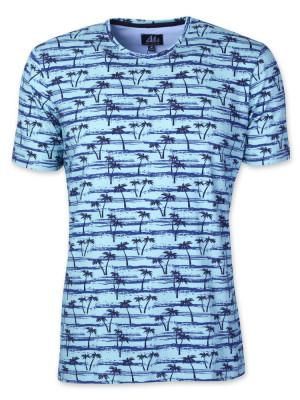 Błękitny t-shirt w palmy