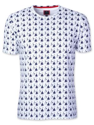 Biały t-shirt w żaglówki i kotwice