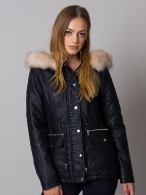 Czarna kurtka z eco skóry z futerkiem