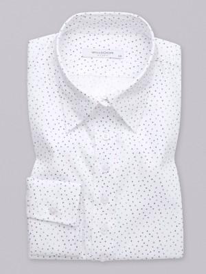 Klasyczna biała bluzka w drobne kolorowe ptaki