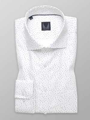 Biała taliowana koszula w drobne kolorowe ptaki