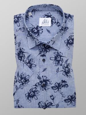 Klasyczna błękitna koszula w kwiaty