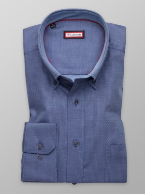 Niebieska klasyczna koszula w jodełkę i kropki
