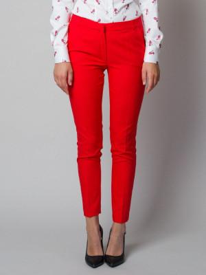 Czerwono-pomarańczowe klasyczne spodnie garniturowe