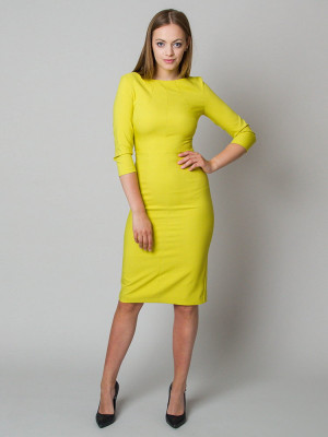 Elegancka limonkowa dopasowana sukienka