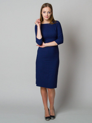 Elegancka granatowa dopasowana sukienka