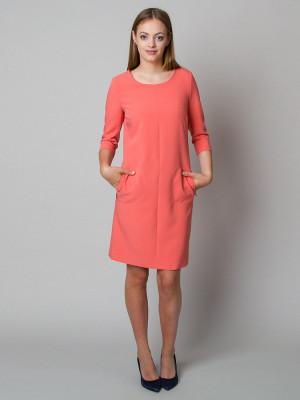 Łososiowa sukienka o luźnym kroju