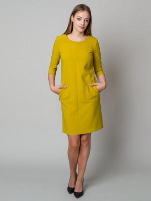 Musztardowa sukienka o luźnym kroju