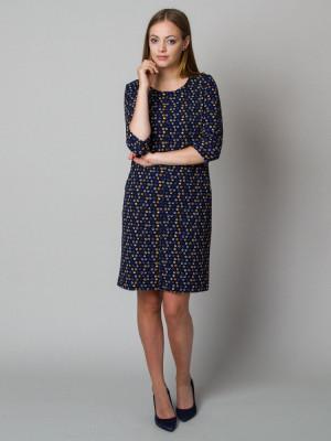 Granatowa sukienka w plamki o luźnym kroju
