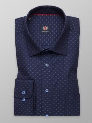 Granatowa taliowana koszula w groszki