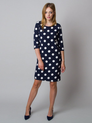 Granatowa sukienka w grochy o luźnym kroju
