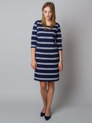 Granatowa sukienka w paski o luźnym kroju