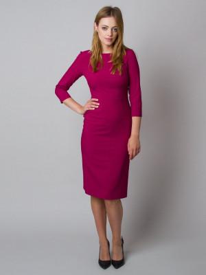Elegancka fuksjowa dopasowana sukienka