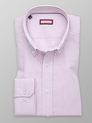 Biała taliowana koszula w różową kratkę