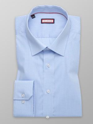 Błękitna taliowana koszula w białą kratkę