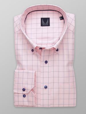 Różowa klasyczna koszula w kratę
