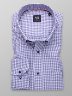 Niebieska klasyczna koszula w drobną kratkę