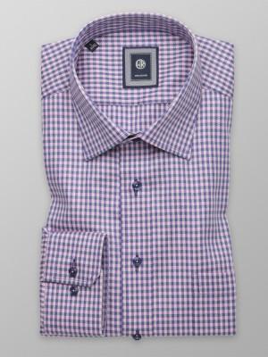 Taliowana koszula w granatowo-różową kratkę