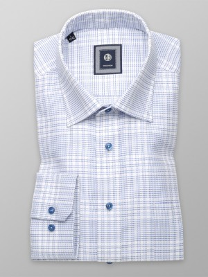 Biała taliowana koszula w niebieski wzór