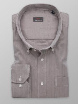 Brązowa klasyczna koszula w jodełkę