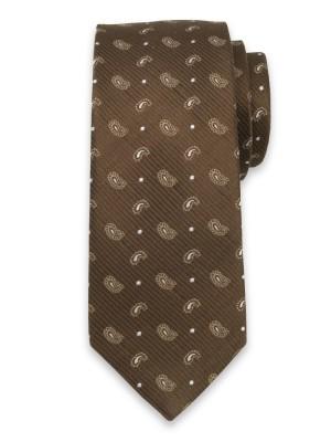 Brązowy jedwabny krawat w łezki