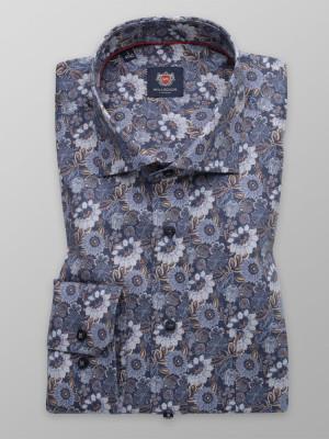 Niebieska klasyczna koszula w kwiaty