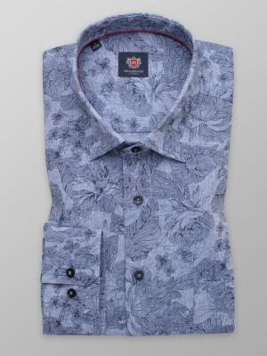 Błękitna klasyczna koszula w kwiaty