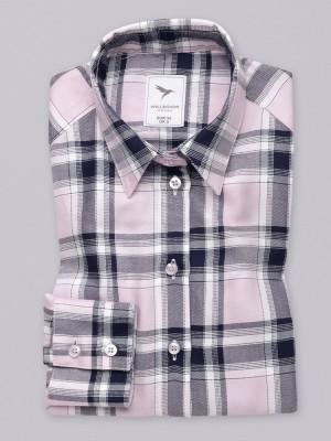 Różowa bluzka oversize w granatową kratkę
