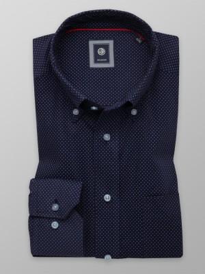 Granatowa klasyczna koszula w drobne kwadraty