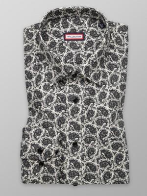 Beżowa klasyczna koszula we wzory paisley