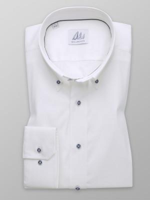 Biała taliowana koszula w delikatny prążek