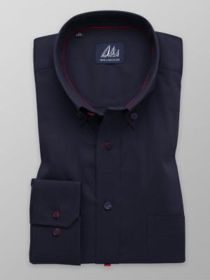 Granatowa klasyczna koszula w delikatny prążek