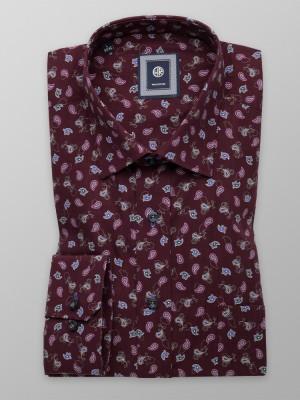 Burgundowa klasyczna koszula w łezki paisley
