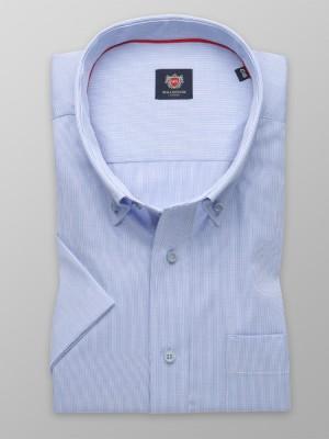 Biała klasyczna koszula w granatowy prążek
