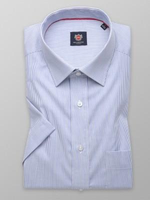 Biała klasyczna koszula w niebieski prążek