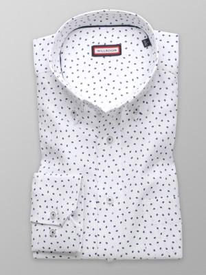 Biała klasyczna koszula w granatowe łezki