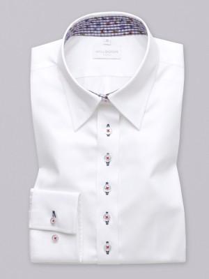 Biała bluzka z kontrastami w kratkę