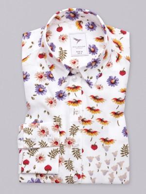 Biała bluzka oversize w kolorowe kwiaty