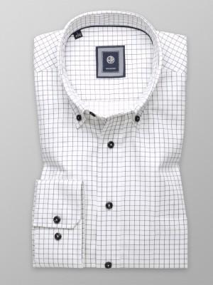 Biała taliowana koszula w czarną kratę