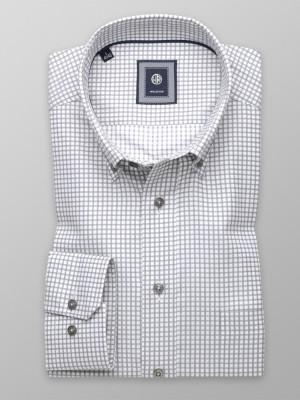Biała taliowana koszula w szarą kratkę