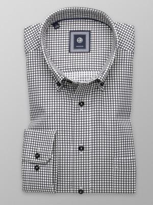 Biała taliowana koszula w czarną kratkę