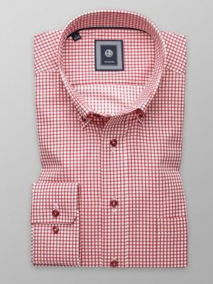 Biała taliowana koszula w czerwoną kratkę