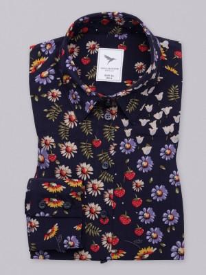 Granatowa bluzka oversize w kolorowe kwiatki