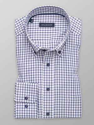 Biała klasyczna koszula w kratkę