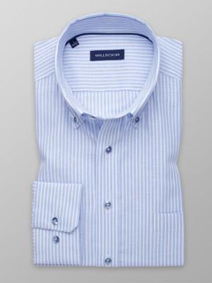 Błękitna taliowana koszula w paski