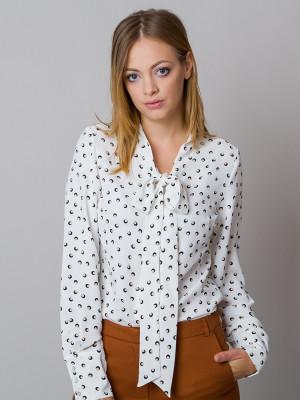 Biała bluzka w czarno-beżowe grochy